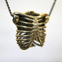 Bronze Rib Cage Necklace by mrd74 on Etsy