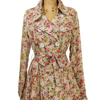 Floral Trench Coat: Peach