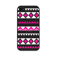 Neon Pink Geometric iPhone 4 Case - Plastic iPhone 4 Cover - Tribal Southwest iPhone 4 Skin - Fluorescent Pink Black Cell Phone