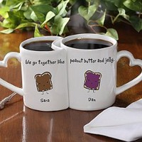 Romantic Personalized Coffee Mug Set - Like Peanut Butter &amp; Jelly
