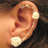 Non Pierced Cartilage  Ear Cuff  Conch Cuff &quot;Roses are White&quot; Silver tone Wedding Prom Bridal