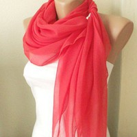 Red Grenadine Red Cotton Spring Scarf | moonfairy - Accessories on ArtFire