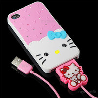 HOT Crystal Bling Hello Kitty Case + USB Date Cable for Apple iPhone 4 4S PINK