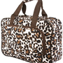Brown Leopard Print Overnight Travel Duffle Bag: Clothing