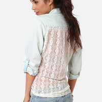 Lira Darling Lace Back Button-Up Top