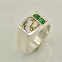 Gold in Quartz Inlaid in Sterling Silver and Green Garnet Ring | JewelerJim - Jewelry on ArtFire