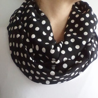 Infinity Scarf,  Loop Circle, white dotted scarf, Spring Accessory, women scarf, mothers day gifts, women accessories, scarves, scarf.