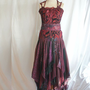 Romantic Tattered Bridesmaid Dress Wine Grape Beet Upcycled Woman&#x27;s Clothing Funky Style Shabby Chic Eco Friendly Style Upcycled Clothig