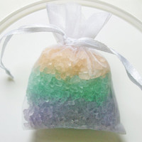 Bath Tea Bag - Dead Sea salt  - purple,peach,blue - summertime fruit scent