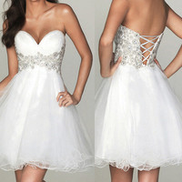 Sweetheart White Mini Prom Dress/Homecoming Dress