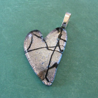 Silver Heart, Dichroic Pendant, Black Tie Affair, Love Jewelry, Couples Jewelry  - Desire's Fancy - 4065 -3