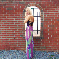 Multi Color Print Strapless Maxi Dress with Black Cutout Top