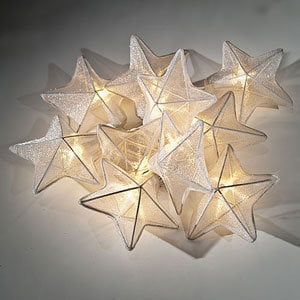 White Organza Star String Lights