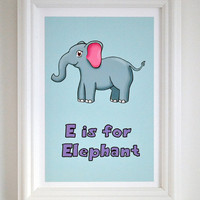 Nursery Art print - E is for Elephant children's art / nursery art