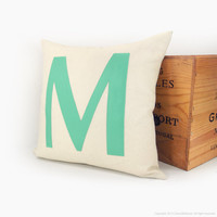 Monogram pillow - Alphabet letters - Mint green letter M applique on cream canvas - 16x16 decorative throw pillow cover
