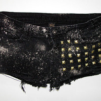 Black Studded Hipster Shorts by YOUTHAFLAME