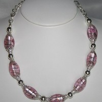 Pink Foil Lampwork and Silver Plated Beaded Necklace