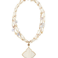 Petite Three-Strand Pearl Necklace with Clover Mother of Pearl Drop