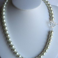 Chunky Cream White Glass Pearl Necklace Sterling Silver Clasp