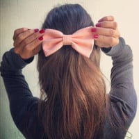 Light Peach Pink BIG hair bow (S-N-008)