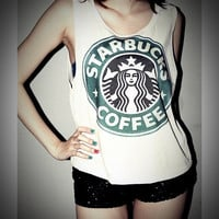 Starbucks Shirt Tank Top Starbucks T-Shirt Crop Top Sexy SideBoob Shirts Women Size S, M, L