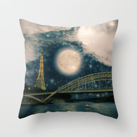 One Starry Night in Paris Throw Pillow by Belle13 | Society6