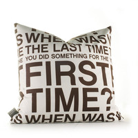 Inhabit First Time Pillow in White and Chocolate