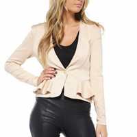 Nude Fitted Peplum Scuba Jacket