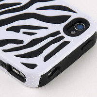 New Black White Zebra Combo Hard Soft Silicone Armor Case Cover for iPhone 4/4S