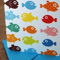 Blank Mini Card Set of 10 Cute Tropical Fish with by mad4plaid