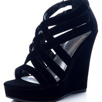 Faux Suede Criss Cross Strap Wedge - Black from Casual & Day at Lucky 21 Lucky 21