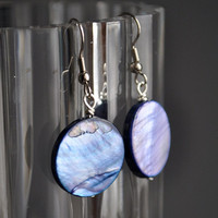 Purple Mother of Pearl like Dangle Earrings by TatumBradleyCo