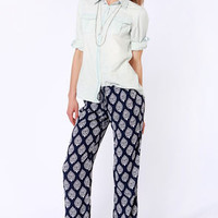 Lucy Love Santa Cruz Navy Blue Print Pants