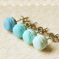 Food Earrings - Macaron Earrings In Lagoon Blue Series on Luulla