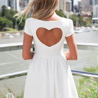 White Heart Cutout Dress with Cap Sleeves &amp; Skater Skirt
