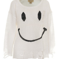 WILDFOX  90's Smile Lennon White Knit sweater in destroyed look - Pullover