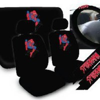 11pc Spider MAN Spiderman Marvel Comics Superhero Low Back Seat Covers with Head Rest Covers, Bench Cover and Steering Wheel Cover with Shoulder Pads Licensed and Rare Product : Amazon.com : Automotive