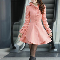 Women Coat Pink Long Dress Spring Trench Coats Wool Cape Coat Skirt Spring Cape Jacket  Women Blazer  S-XL