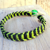 Striped Hemp Bracelet Fluroescent Green Neon Jewelry Fishbone Knot