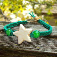 Hemp Jewelry Macrame Bracelet Beaded Hemp Unisex Star Pendant