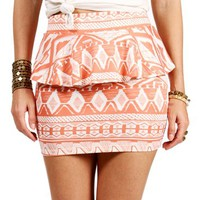 Coral/White Peplum Tribal Skirt