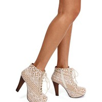 Ivory Crochet Lace Up Hidden Platform