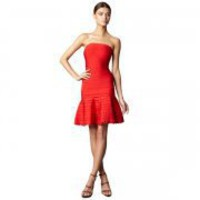 Bqueen Scalloped Strapless Bandage Dress Red H320R - Designer Shoes|Bqueenshoes.com