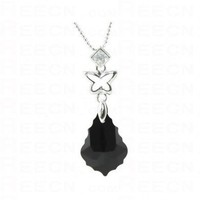 Black Leaf Swarovski Crystal With Butterfly White Gold Plated Pendant