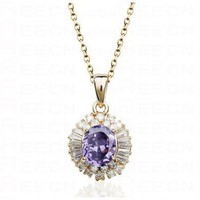 Purple Round Swarovski Crystal With White Diamond Pendant