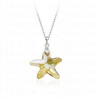 Yellow Starfish Swarovski Crystal Pendant