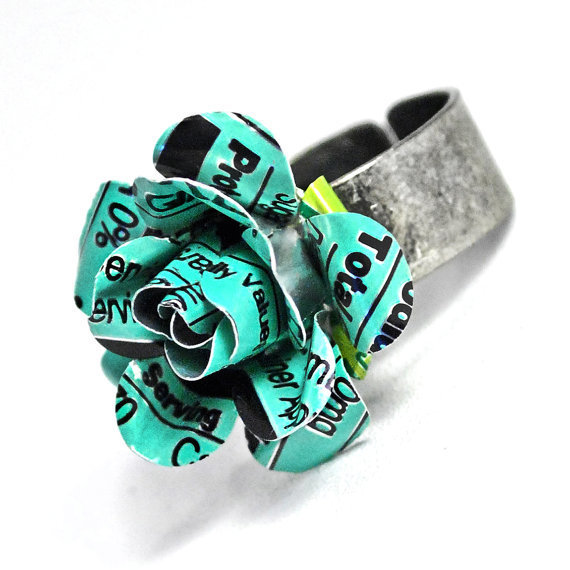 Recycled Jewelry Aqua Rose Ring by wearwolf on Etsy