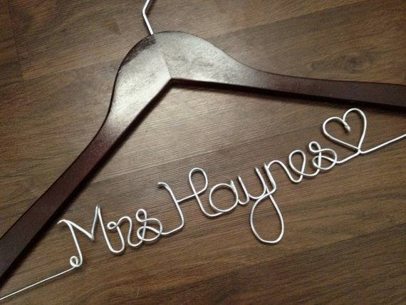 Wedding dress hanger bride hanger last from deighan design for Wedding dress hangers with name