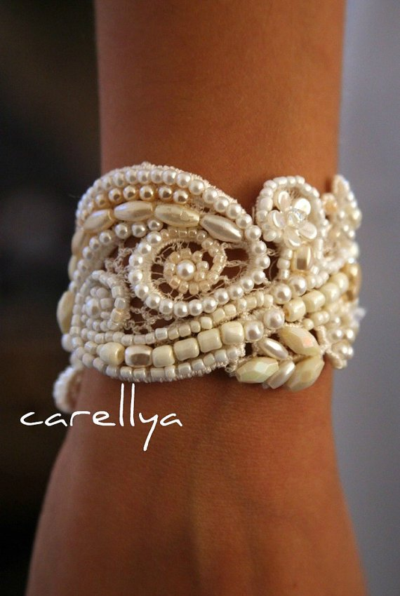 Beaded Pearls Bracelet Vintage Lace Beaded Cuff by carellya