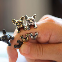 KopoMetal handmade bulldog ring black / silver / golden colour